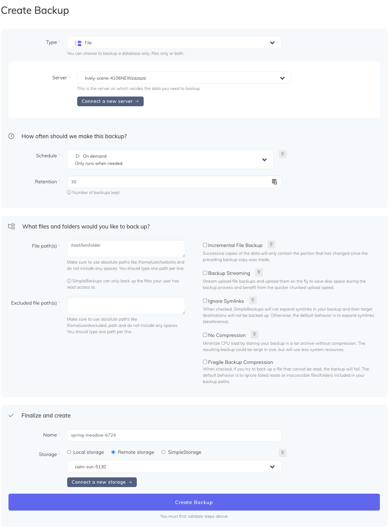 Creating files backup with SimpleBackups